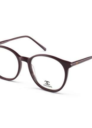 Armação de óculos redonda chanel ch58663 vinho