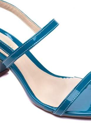 Sandálias femininas verniz salto 5,5 bloco