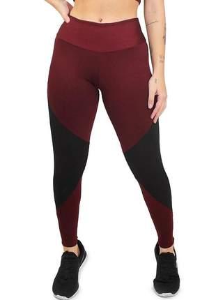 Calça legging feminina marsala com detalhe preto