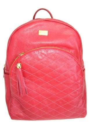 Mochila de couro feminina com barbicacho d'elpis - ref 8135 vermelho