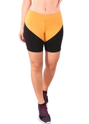 Short fitness feminino amarelo com detalhes preto