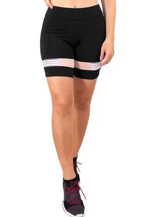 Short fitness feminino preto com detalhe rose e branco