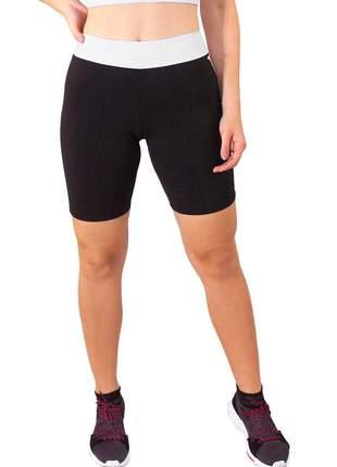 Short fitness feminino preto com faixa branca cintura