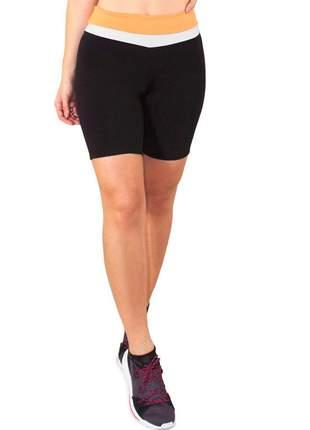 Short fitness feminino preto detalhe cintura amarelo e branco