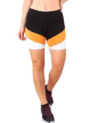 Short fitness feminino preto detalhe amarelo e branco