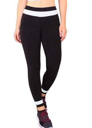 Calça legging fitness feminino preto detalhe branco cintura
