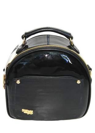 Bolsa pequena de mão couro legítimo com alça longa d'elpis - ref 8138 preto verniz