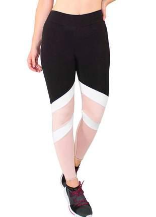 Calça legging fitness feminina preto com faixas branco e chocolate