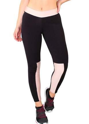 Calça legging fitness feminina preto faixa chocolate cintura e perna