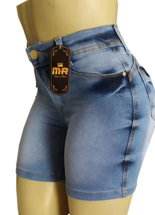 Shorts jeans cintura alta meia coxa lycra