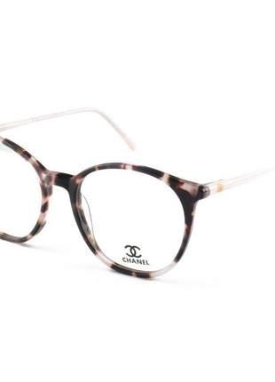 Armação de óculos redonda chanel ch58663 rosa tartaruga