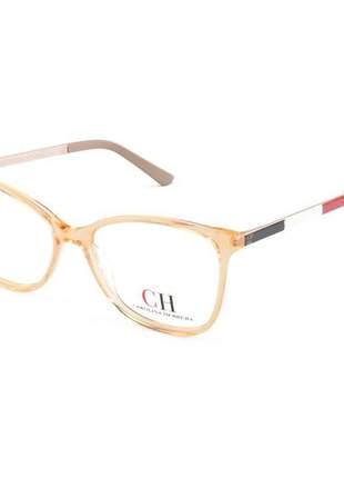 Armacao de óculos quadrada carolina herrera vhe501 laranja translucido