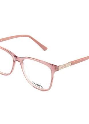 Armacao de óculos quadrada feminina chanel ch3503 rosa translucido