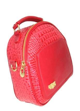 Bolsa de mão cantil couro legítimo com alça longa d'elpis - ref 8138 vermelho