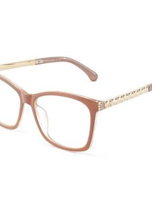 Armacao de óculos quadrada feminina chanel x8242 nude