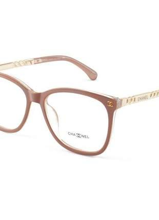 Armacao de óculos quadrada feminina chanel x8251 nude