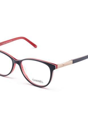 Armacao de óculos oval feminina chanel ch3255 azul e vermelha