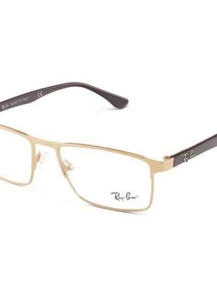 Armacao de óculos retangular ray-ban rb5258 marrom e dourada metal