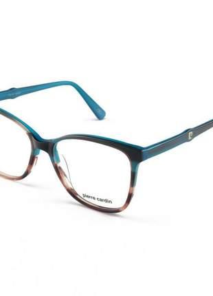 Armacao de óculos feminina pierre cardin 8470 azul degrade