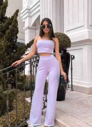 Crooped calça cintura alta lilas conjunto p m top moda