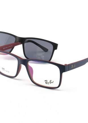 Armacao de óculos clip on ray-ban 6204 1 lente extra azul e vermelho