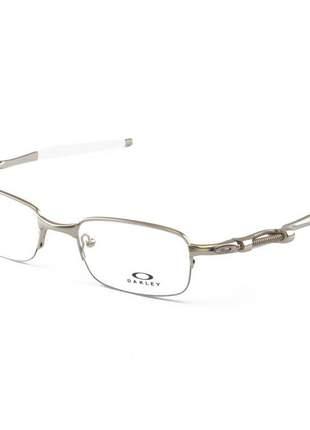 Armacao de óculos oakley coilover ox5043 prata e branco