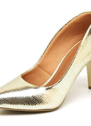 Sapato scarpin salto médio fino metalizado lagarto dourado