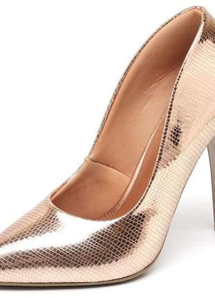 Sapato scarpin salto alto fino 11 cm metalizado lagarto cobre