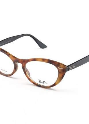 Armacao de óculos gatinho ray-ban nina rx4314 tartaruga e preto