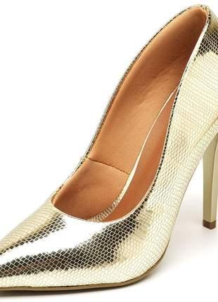 Sapato scarpin salto alto fino metalizado lagarto dourado