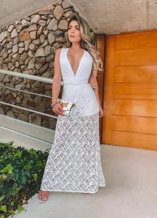 Vestido longo renda luxo bojo moda p m