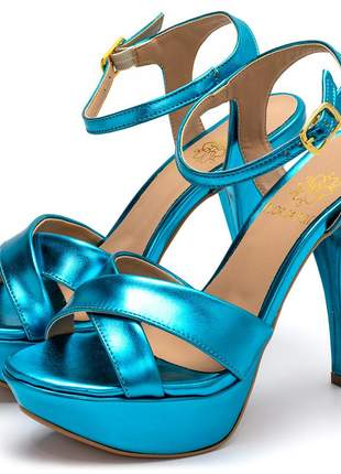 Sandália meia pata  plataforma salto alto fino azul metalizado