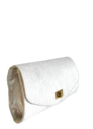 Bolsa clutch alça tiracolo couro legítimo divino - ref 4002 prata