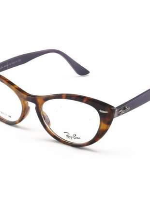 Armacao de óculos gatinho ray-ban nina rx4314 tartaruga e roxo