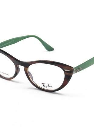 Armacao de óculos gatinho ray-ban nina rx4314 tartaruga e verde