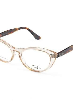 Armacao de óculos gatinho ray-ban nina rx4314 creme translucida