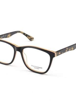 Armacao de óculos quadrada ana hickmann ah 6225 preto e creme