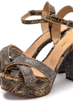 Sandália feminina luxo meia pata salto alto em napa piton e strass
