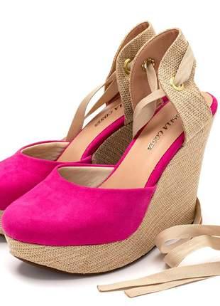 Sandalia anabela rosa pink salto plataforma juta  amarrar na perna