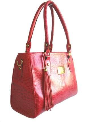 Bolsa de ombro com alça longa couro legítimo divino - ref 5001 vermelho croco