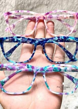 Armacao de óculos quadrada ana hickmann ah 6225 rajada