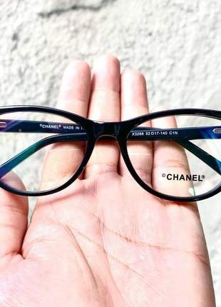 Armacao de óculos gatinho feminina chanel x3288 preta