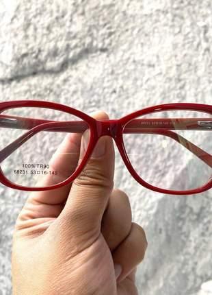 Armacao de óculos feminina swar sk5290 vermelha