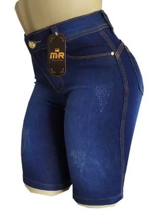 Bermudas jeans feminina ciclista cintura alta lycra (até o joelho)