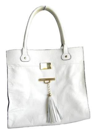 Bolsa de couro alça ombro com barbicacho divino - ref 11001 branco