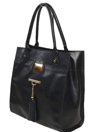 Bolsa de couro alça ombro com barbicacho divino - ref 11001 preto