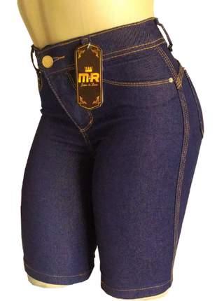 Bermudas jeans ciclistas cintura alta (até o joelho)