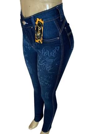 Calças femininas jeans cós alto lycra
