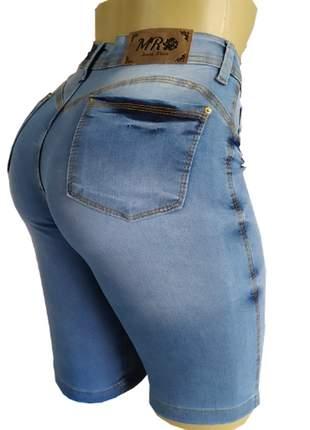 Bermudas cintura alta jeans feminino com lycra (até o joelho)