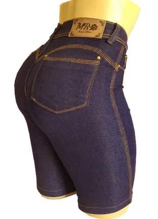 Bermudas cintura alta jeans feminino com elastano (até o joelho)